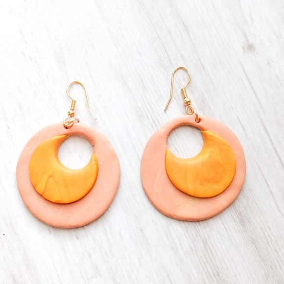 Handcrafted Retro Polymer Clay Round Earrings